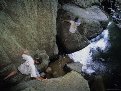 Archeologists Boulder Hop Through the Massive Rio Frio Cave Stretched Canvas Print
