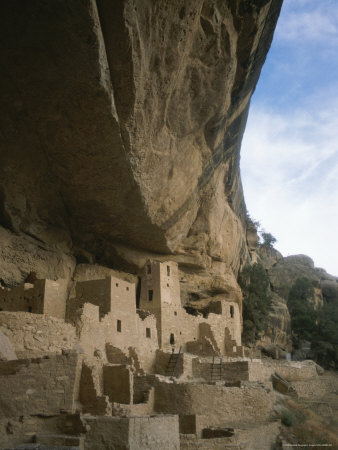 A View of Ancient Cliff Dwellings Stretched Canvas Print