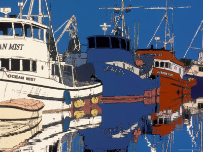 Fishing Boats Docked at Fishermen's Terminal, Seattle, Washington, USA Stretched Canvas Print