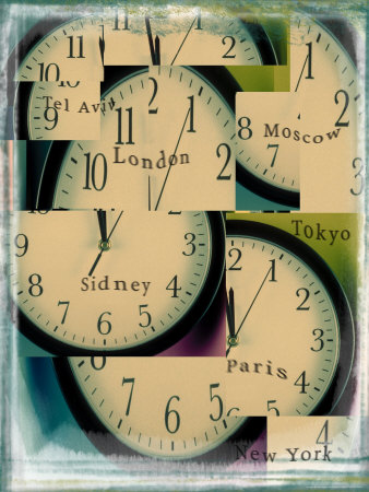 Clocks Montage with City Names Stretched Canvas Print