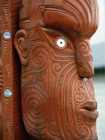 Maori Carving, New Zealand Stretched Canvas Print