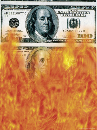 Money to Burn Stretched Canvas Print