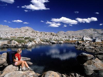 Hiker, Sierra Nevada Range, CA Stretched Canvas Print