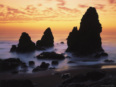 Jules cowan sunset rodeo beach ca rock formations in the fog