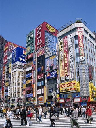 Shinjuku-Dori, Shinjuku, Tokyo, Honshu, Japan Stretched Canvas Print