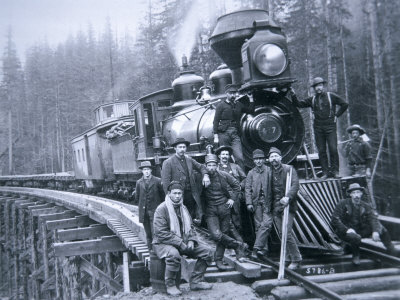 Railroad Construction Crew, 1886 Stretched Canvas Print