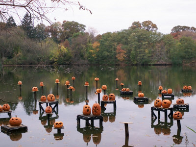 This Water Based Jack-O-Lantern Display in the Halloween Spectacular Stretched Canvas Print