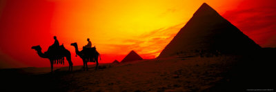 Great Pyramids of Giza at Sunset, Egypt Stretched Canvas Print