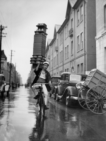 A Delivery Boy for a Tokyo Restaurant Carries a Tray of Soba Bowls Stretched Canvas Print