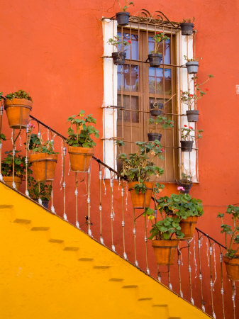 Colorful Stairs and House with Potted Plants, Guanajuato, Mexico Stretched Canvas Print