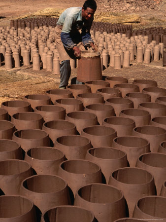 Man Drying Clay Pots and Tiles, Lijiang, China Stretched Canvas Print