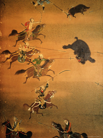 Hunting Scene Depicted on House Screen, Kyoto, Japan Photographic ...