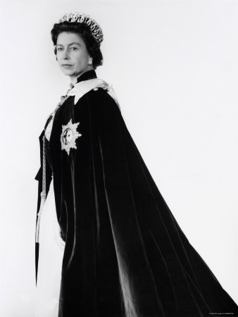 Queen Elizabeth II in Robes and Wearing the Order of the Garter, England Stretched Canvas Print