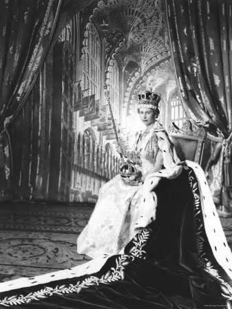 Queen Elizabeth II in Coronation Robes, England Stretched Canvas Print