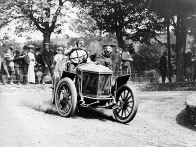 Algernon Guinness Driving a Minerva in the 1907 Circuit des Ardennes Stretched Canvas Print