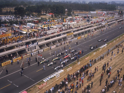 Starting Grid of the 1967 French Grand Prix at Le Mans Stretched Canvas Print