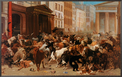 Bulls and Bears in the Market Framed Canvas Print by William Holbrook Beard