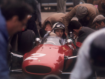 Mechanics Work on John Surtees in Ferrari During Pit Stop Stretched Canvas Print