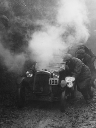 1928 Austin 7 Gordon England Cup at the Exeter Trial Struggling Uphill Stretched Canvas Print