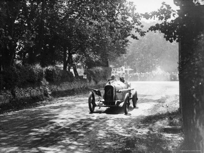 Sunbeam at 1914 Isle of Man TT race, Kenelm Lee Guinness Stretched Canvas Print