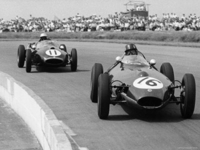 Graham Hill Leads in his Lotus 16 from Jack Brabham in Cooper T45, 1958 British Grand Prix Stretched Canvas Print