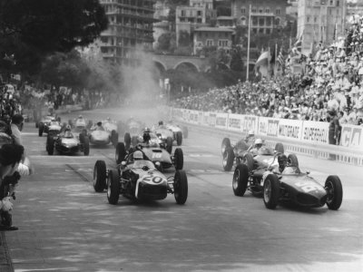 Start of 1961 Monaco Grand Prix, Stirling Moss in Car 20, Lotus 18 Who Won the Race Stretched Canvas Print