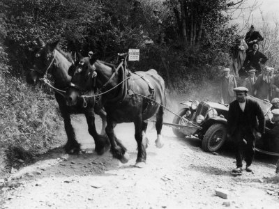 Horses Pulling Broken Down MG Up a Hill During a Trial, 1930's Stretched Canvas Print