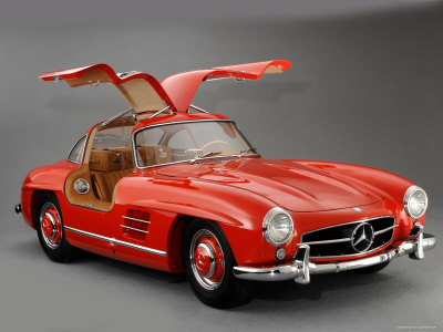 1957 Mercedes Benz 300 SL Gullwing Stretched Canvas Print