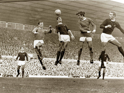 Manchester United vs. Arsenal, Football Match at Old Trafford, October 1967 Stretched Canvas Print