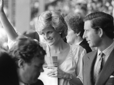 Princess Diana and Prince Charles July 1985 Are Pictured at the Live Aid Concert in Wembley Stretched Canvas Print