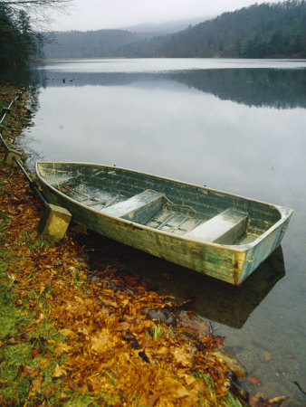 Old Rowboat on the Shore of Douthat Lake in Rain Stretched Canvas Print