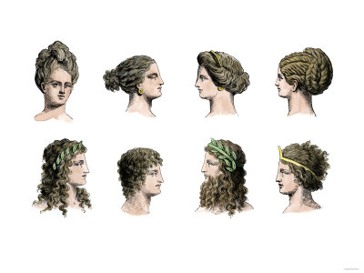 Ancient Greek Hairstyles of Women and Men Giclee Print. zoom. view in room