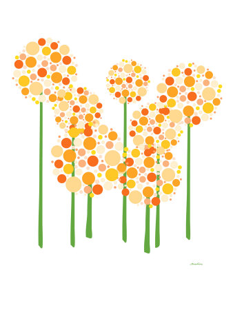 Orange Alliums Stretched Canvas Print