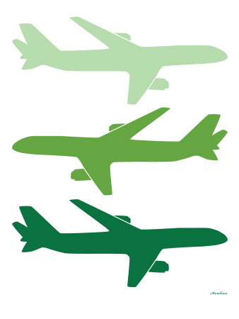 Green Planes Stretched Canvas Print