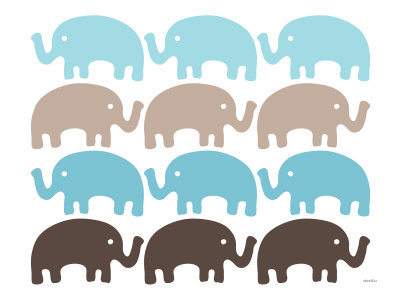 Brown Elephant Family Stretched Canvas Print