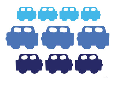 Blue Cars Stretched Canvas Print