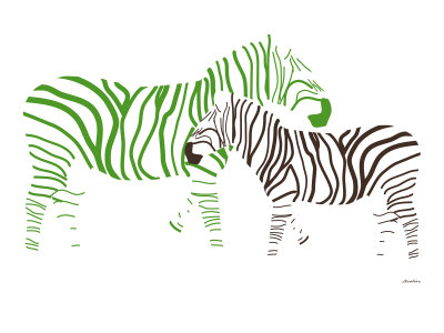 Green Zebra Stretched Canvas Print
