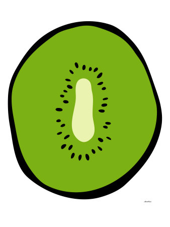 Green Kiwi Stretched Canvas Print