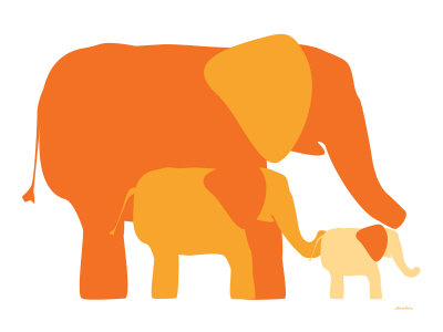Orange Elephants Stretched Canvas Print
