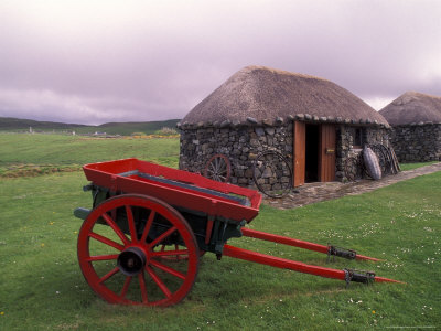 Rural Landscape and Wheelbarrow, Kilmuir, Isle of Skye, Scotland Stretched Canvas Print