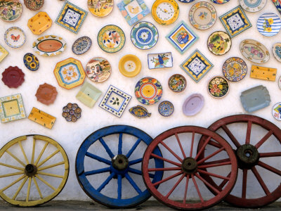 Ceramic Plates and Wagon Wheels, Algarve, Portugal Stretched Canvas Print
