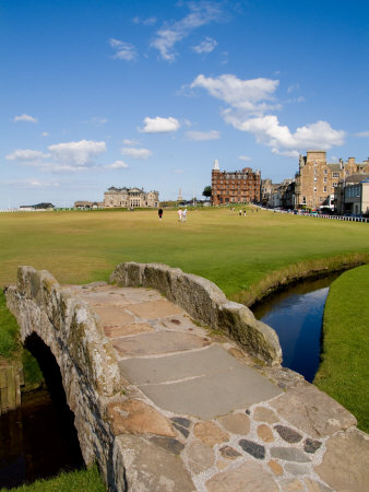 Golfing the Swilcan Bridge on the 18th Hole, St Andrews Golf Course, Scotland Stretched Canvas Print