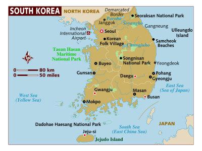north korea map. Map of South Korea, North-East