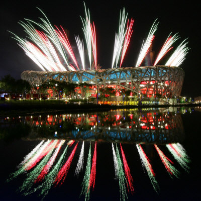 Fireworks over Bird's Nest, 2008 Summer Olympics, Beijing, China Stretched Canvas Print