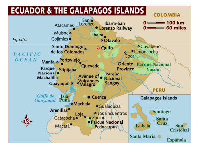 map of ecuador and the galapagos islands