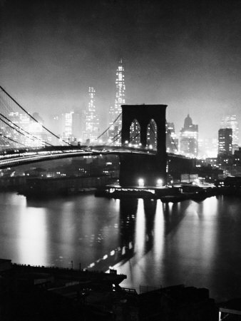 Night View of Nyc and the Brooklyn Bridge Stretched Canvas Print