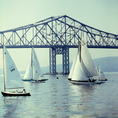 Sailboats in Front of the Central Part of the Tappan Zee Bridge over the Hudson River Stretched Canvas Print
