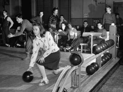 Dubutantes with Bowling with their Dates Stretched Canvas Print