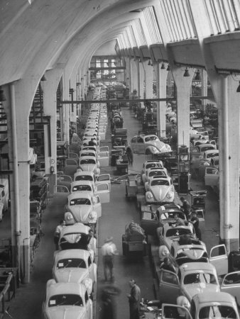 Interior View of Volkswagen Plant, Showing Assembly Lines Stretched Canvas Print