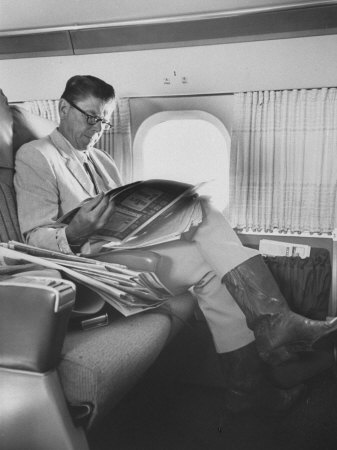 Ronald W. Reagan, Candidate for Governor of California, Traveling on Plane to Campaign in San Jose Stretched Canvas Print